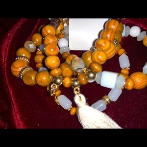 Gorgeous wood beads & white bracelet bundle.